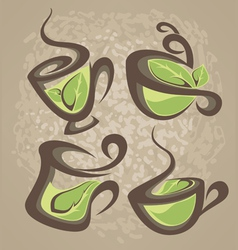 herbal tea collection of cups vector image vector image