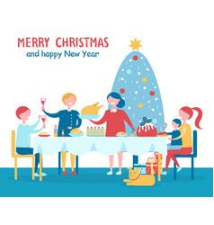 merry christmas familys dinner vector image