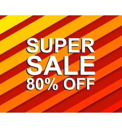 Red striped sale poster with super sale 80 percent vector