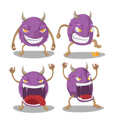violet monster isolate cartoon set vector image