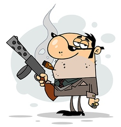 Cartoon Character Mobster Carries Weaponbackgroun vector image