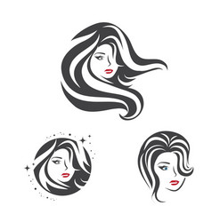 collection of beauty woman face and hair vector image vector image