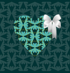 green heart with a white bow vector image