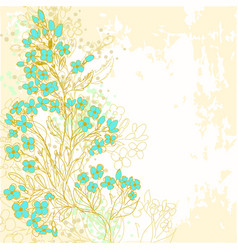 Hand drawn background with forget-me-not flowers vector image vector image