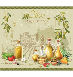 Olive oil and olives against country landscape vector image