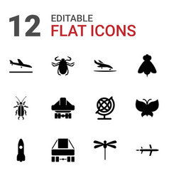 12 fly icons vector