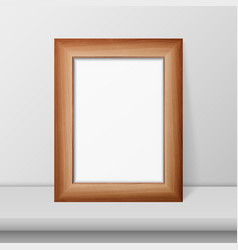 3d realistic brown wooden simple modern vector image
