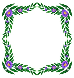 A border made of leaves and violet flowers vector image