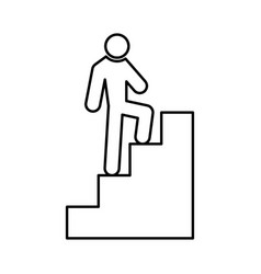a man climbing stairs black color icon vector image