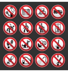 A set of signs prohibiting on gray background vector