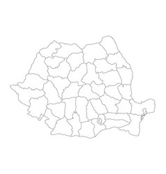 administrative counties of romania map of vector image