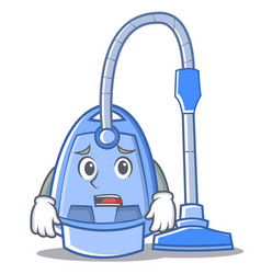 Afraid vacuum cleaner character cartoon vector