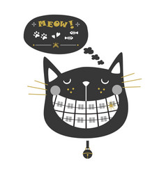 Black and golden cute laughing orthodontics cat vector