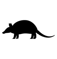 black silhouette armadillo vector image