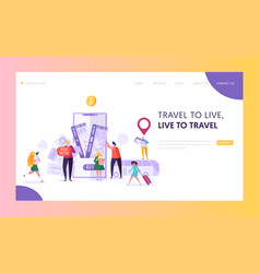 Book vacation flight ticket landing page online vector