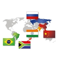 Brics icon with flags vector