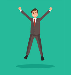 business man jumps celebrates the victory vector image