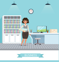 businesswoman with project plans and rolled vector image