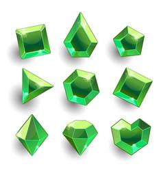cartoon green emerald different shapes crystals vector image