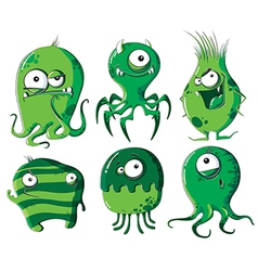 Cartoon microbes and bacteria vector