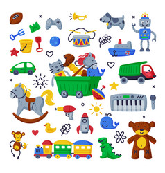 children toys set various objects for kids vector image