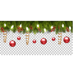 christmas holiday frame with branches tree and vector image
