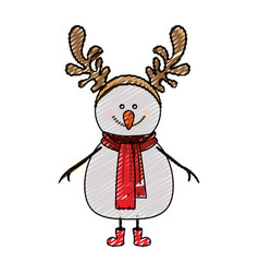 Color crayon stripe cartoon of snowman with red vector
