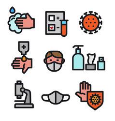 coronavirus protection icons vector image