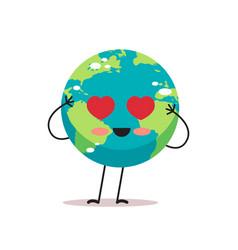 cute earth character with heart eyes cartoon vector image