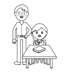 Cute little students girl seated in schooldesk vector