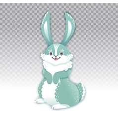 Cute rabbit cartoon waving hand vector image
