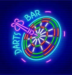 Darts bar neon sign icon vector