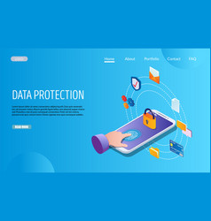 Data protection website landing page design vector