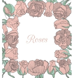Decorative floral frame with pink roses vector