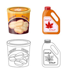 Design of can and food sign collection of vector