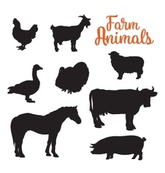 diverse collection of farm animals black contour vector image