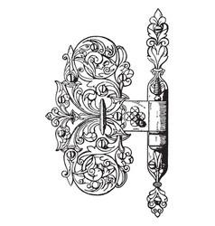 door hing ball-bearing vintage engraving vector image