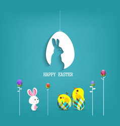 easter blue poster with chicken and handwritten vector image