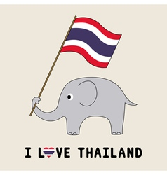 Elephant hold Thai flag3 vector image