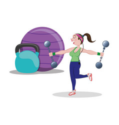 Fitness woman ball barbell weight vector