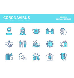 flat line filed icons design-coronavirus vector image