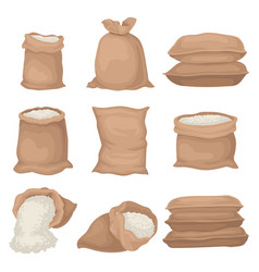 Flat set of burlap sacks with rice or flour vector