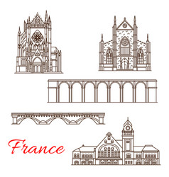 france landmarks architecture line icons vector image