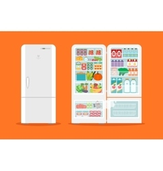 Full of food opened refrigerator vector image