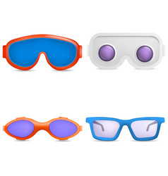 Goggles ski glass mask icons set realistic style vector