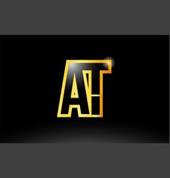 Gold black alphabet letter at a t logo vector