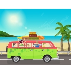 group young people traveling in vintage bus vector image