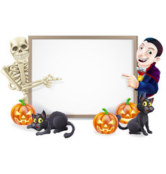 Halloween sign with skeleton and dracula vector