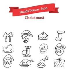 Hand draw collection Christmas icons vector