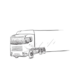 Hand drawn delivery truck with billboard space vector